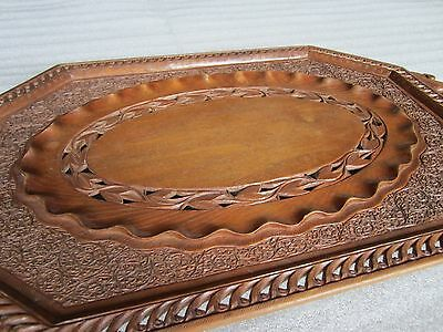 Gorgeous Antique 1850's Persian Islamic Super Intricate Hand Carved Wooden Tray