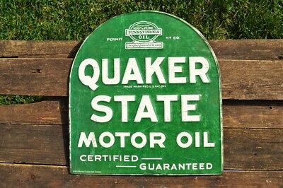 Quaker State Motor Oil Embossed Tin Metal Sign - Gasoline - Vintage - Tombstone