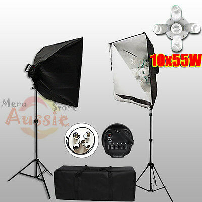 2750W Photo Studio 5 Head Softbox Continuous Lighting Soft Box Light Stand Kit
