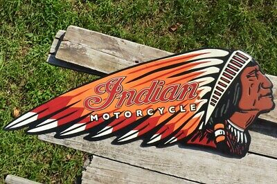 Indian Motorcycle Embossed Tin Metal Sign - Chief - Scout - Retro - Vintage