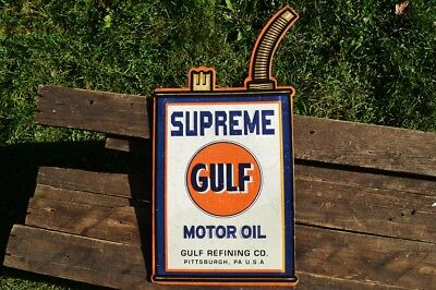 Gulf Supreme Motor Oil Can Embossed Tin Metal Sign - Gasoline - Retro - Vintage