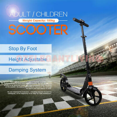 Hand Break Design 200mm Diameter Big Wheel Push Scooter Adult Child Commuter