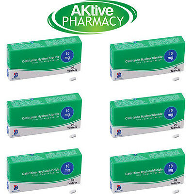 6 Months Supply of Cetirizine 10mg Hayfever Tablets - 30 x 6