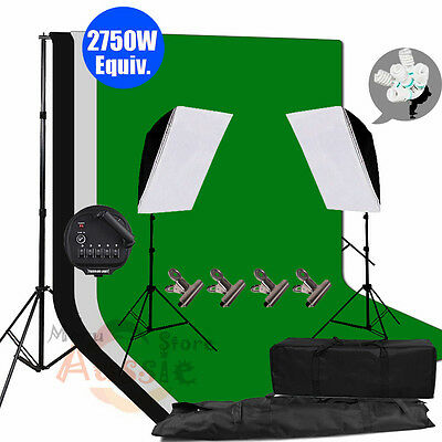 Photography Video 3 Backdrops Studio Softbox Continuous Lighting Light Stand Kit
