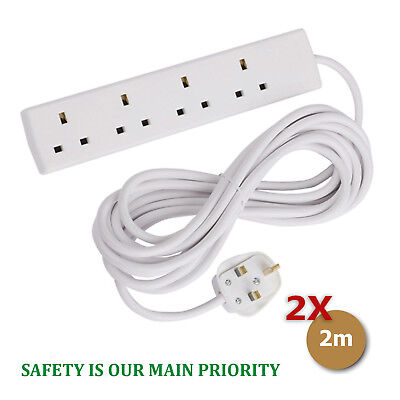 2 X Extension with 2 Meter Cable 2m 4-Gang Surge Protected Extension Lead 4 Way