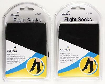 2 Packs of Flight Travel Socks One Size Black Circulation Compression Support