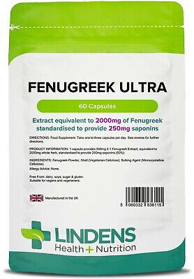 Fenugreek Ultra 2000mg - 60 Capsules Health Anabolic Support (Lindens)