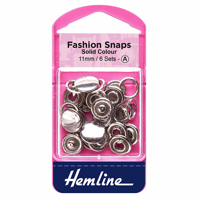 Hemline Fashion Snaps Silver Solid Top 11mm 6 Sets