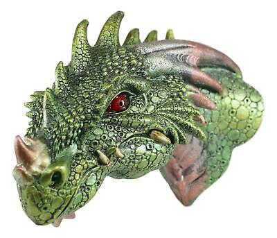 """8"""" Height Green Dragon Head Wall Plaque with LED Illuminated Eyes Figurine Decor"""