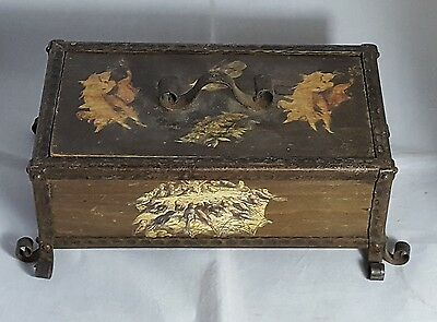 Beautiful Vintage Wooden Storage Box with Metal Frame.