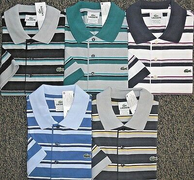 New Mens Lacoste S/s Jersey Stripe Polo Golf Shirt, Pick A Color & Size, $98