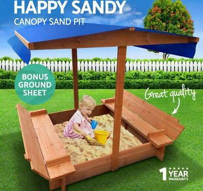New Sandpit Toys Sandpit Toy Box Kids Canopy Sand Pit Wooden Outdoor Play Set