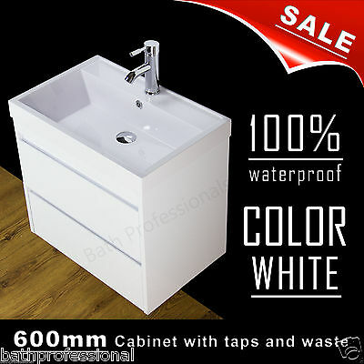 Vanity Unit Cabinet Bathroom Basin Sink Wall Hung Mounted Tap Waste 600MM SQ2