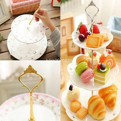 2 or 3 Tier Cake Plate Stand Fittings Handle Rod Royal Crown Pattern for Wedding