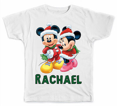 Personalized Disney Mickey and Minnie Mouse Christmas T-Shirt
