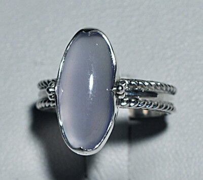 Blue Chalcedony Oval Cabochon Sterling Silver Handcrafted Ring