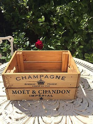 Vintage Wooden Moët & Chandon Champagne Wine Crate Box Storage Shabby Chic Retro