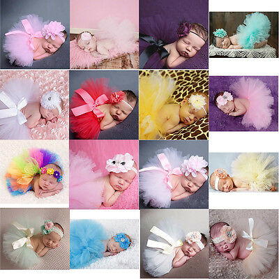 Newborn Headdress Flower Headband+Tutu Clothes Skirt Baby Girl Photo Prop Outfit