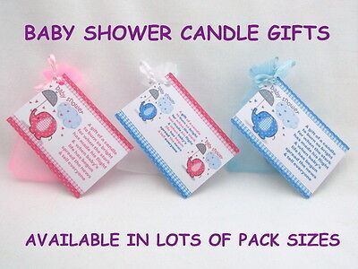 Gorgeous Cute Baby Shower Candle Favours With Scented Candles - Blue Pink White