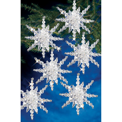 """Holiday Beaded Ornament Kit Snow Clusters 3.5"""" Makes 12 BOK-7282"""