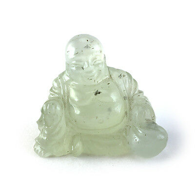 Vintage Chinese Carved Celadon Green Serpentine Laughing Buddha Budai Statue