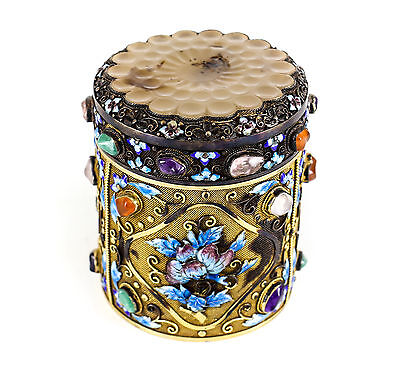 Chinese Gilt Silver Lidded Jade / Enamel & Semi-Precious Stone Tea Caddy, 19th C