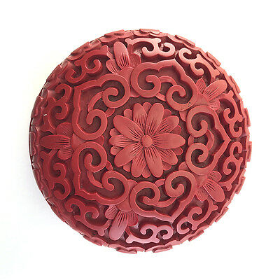 Vintage Chinese Carved Cinnabar Red Lacquer Seal Paste Box & Cover, 20th C.