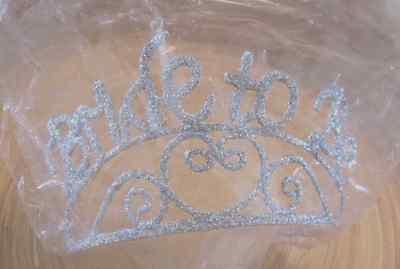 "nip Bachelorette Bridal ""Bride To Be"" Sparkle Tiara Crown Wedding Shower Party"