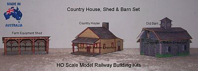 HO Scale House Barn Shed Set - Model Railway Building Kit - FS1