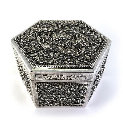 Antique Chinese Export China Straits Reticulated Silver Metal Cricket Box C.1900