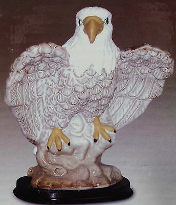 "6-1/2"" Procelain Figurine Eagle with Wings Extendedon Wooden Base with Gift Box"