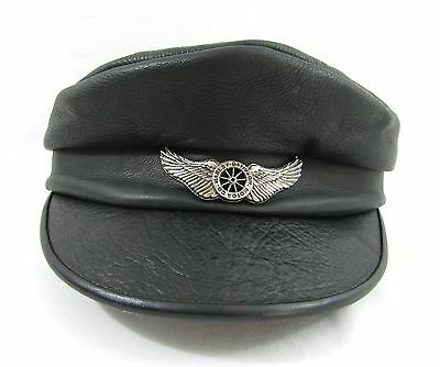 Vintage HARLEY DAVIDSON MOTORCYCLES Black Leather Hat Captain's Cap Size SMALL