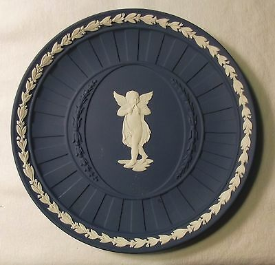 Wedgwood Blue Jasperware Angel with Flutes Plate, 6 5/8 Inches in Diameter