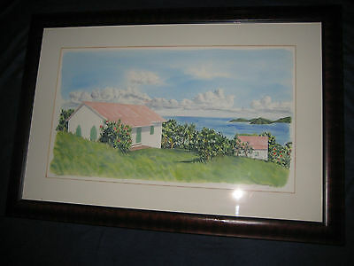 Original Signed Art Jennings 1984 Painting - Baptist Church Tortola Island