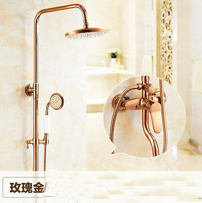 Luxury Rose Gold Shower Faucet Bathtub Shower Mixer Tap Single Lever Exposed