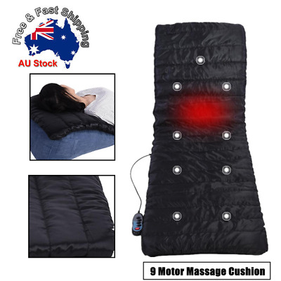 9 Motor Massage Seat Cushion Back Massager Car Pad Chair Home Neck Mat Heat