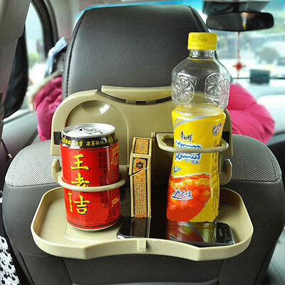 Car Plastic Foldable Meal Drink Cup Tray Holder Mount Dinner Table Beige
