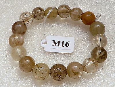 Rutile / Rutilated Quartz Crystal Gemstone Bracelet 10mm+ (M11-M40)
