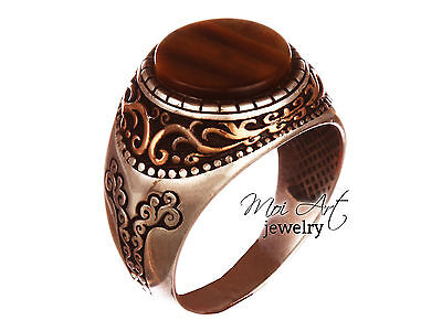 EXCLUSIVE !! Handmade Men's Ring with Tiger Stone 925k Sterling Silver All Sizes