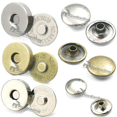 "18mm 3/4"" Magnetic snaps purse Double Rivet Clasp Stud Button Leather"