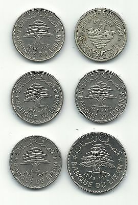 Lebanon Liban 6 Coins Lot Mix 50 Piastres Cedar Tree + Livre + Silver 1952 Sale
