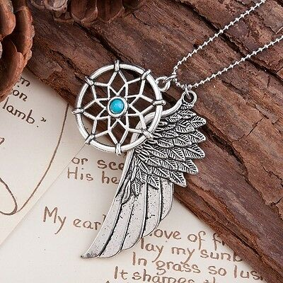 Dream Catcher With Angel Wing Pendant Necklace And Ball Chain Blue Stone