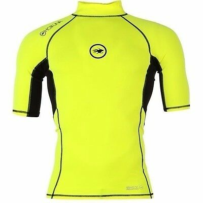 Mens Branded Hot Tuna Short Sleeves Stretch Fit Rash Vest Water Sport
