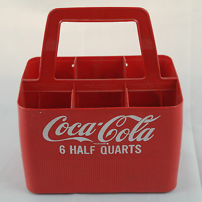 1960's Coca Cola Plastic Bottle Carrying Case 16oz. 1 Pint VTG 6 Bottle Coke Red