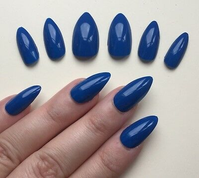 Hand Painted False Nails STILETTO. Full Cover. Super Gloss So Blue. Xmas.
