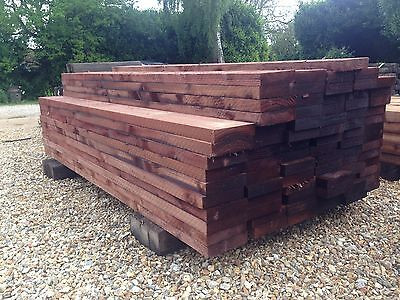 "New Tanalised Railway Sleepers 200 X 50 2.4M (8Ft 8""x2"") Timber"