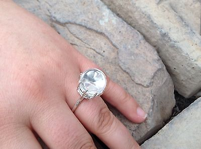pools of light undrilled rock crystal prong set sterling silver ring size 7 1/2
