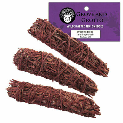 """NEW Pack of 3 Dragon's Blood and Sage Mini Smudge Sticks 3""""+ in Bag"""