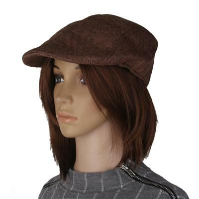 Retro Unisex Flax Peaked Cap Beret Hat Cabbie Adults Casual Flat Hat Brown