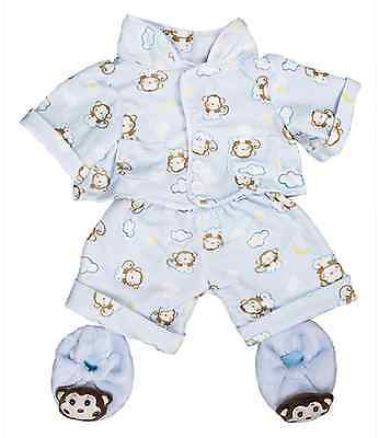 "Blue Monkey Pyjamas outfit / clothes to fit 16"" build a bear factory bears"